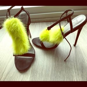 Neon faux fur and black heel sandals
